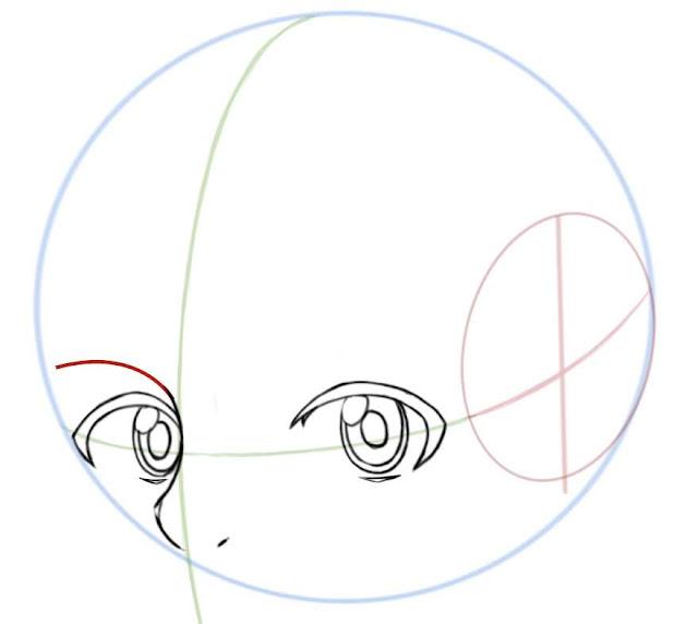 Dessiner des yeux manga de côté: dessiner l'arcade sourcillière