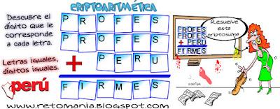 Alfaméticas, Criptosumas, Criptogramas, Criptoaritméticas, Juego de Letras