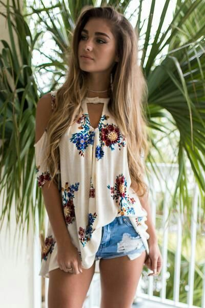 Floral top with denim shorts