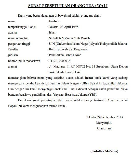Contoh Surat Persetujuan Orang Tua Wali Beasiswa Mahasiswa