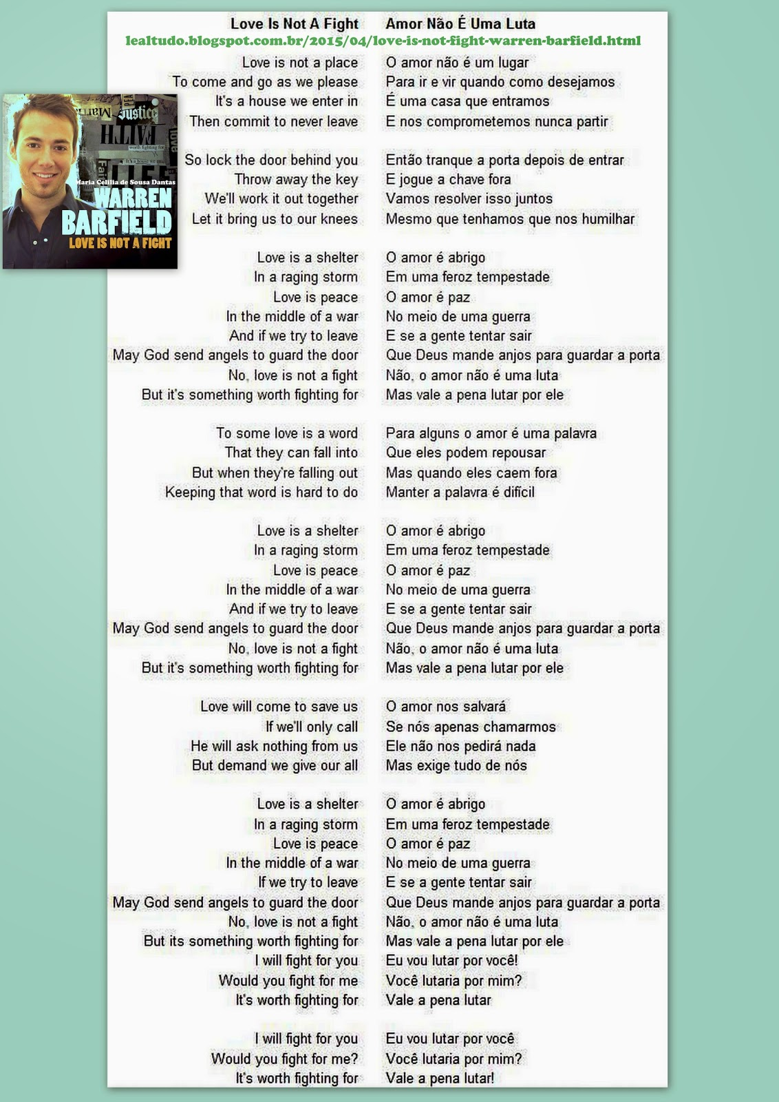 LOVE IS NOT A FIGHT Warren Barfield Lyrics Letra da Música Tradução Português Brasil Online Ouvir assistir Clipe Musical
