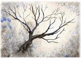 watercolor tree, winter art blue, ACEO affordable art