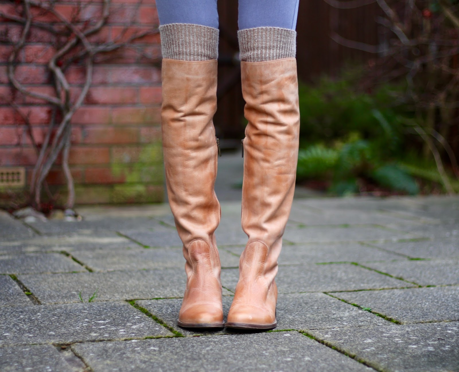 Light tan OTK boots in Winter | Fake Fabulous