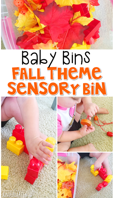 This fall themed sensory bin is great for learning about fall and is completely baby safe. These Baby Bin plans are perfect for learning with little ones between 12-24 months old.