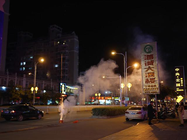fireworks launching from a street in Xiapu, Fujian