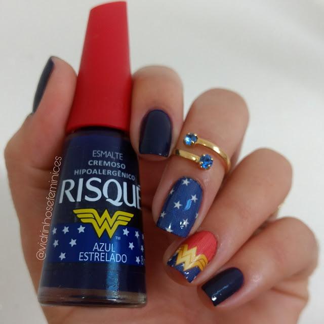 Azul estrelado Mulher maravilha risqué