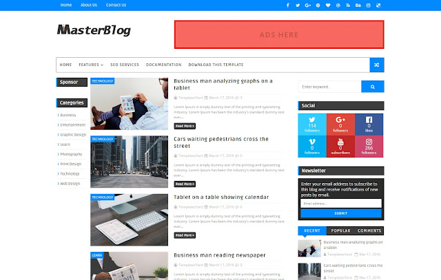 Master Blog Responsive Personal Blog Viral Niche Simple Minimalist Faster Blogger Template Theme