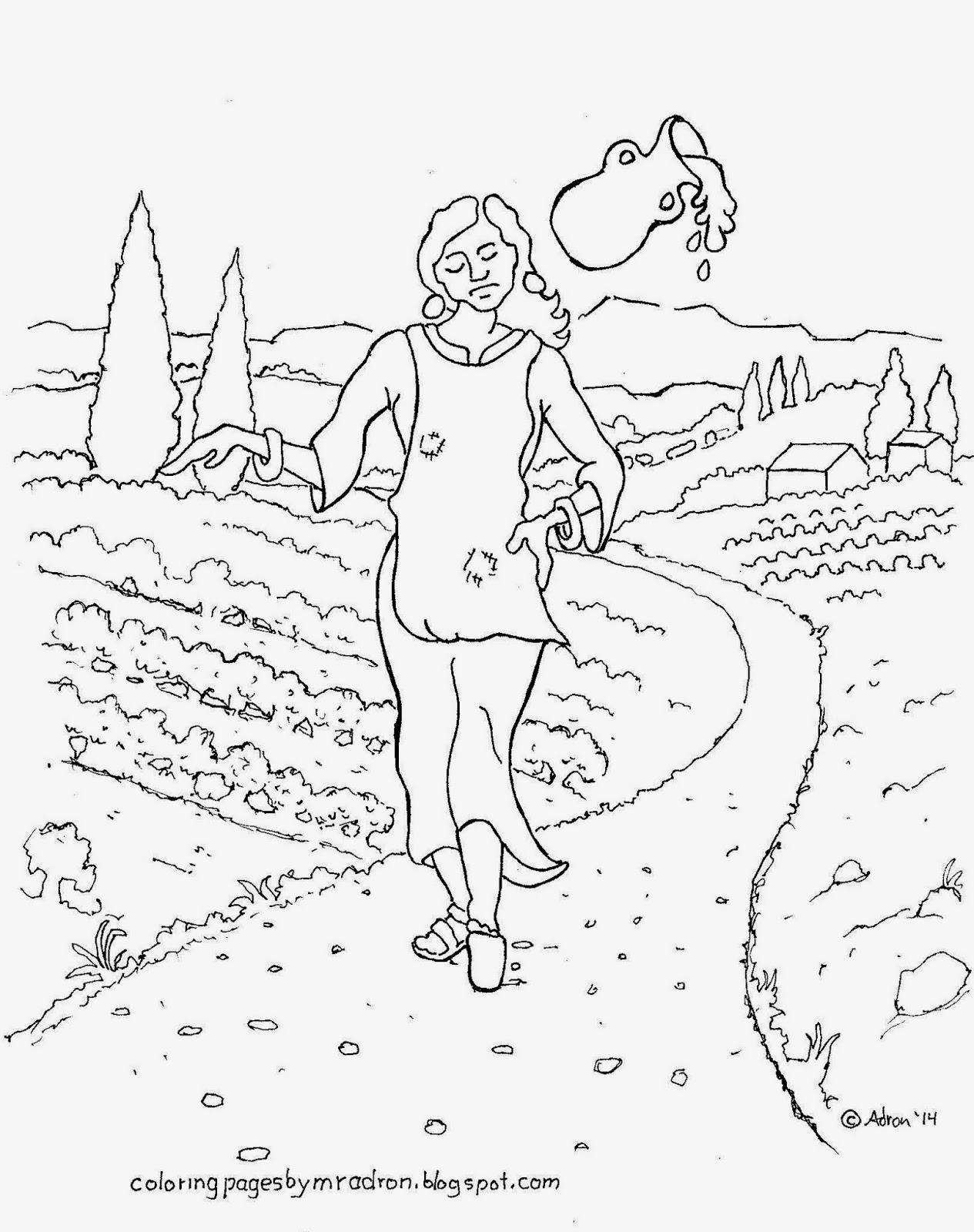 The milkmaid fable to print and color.