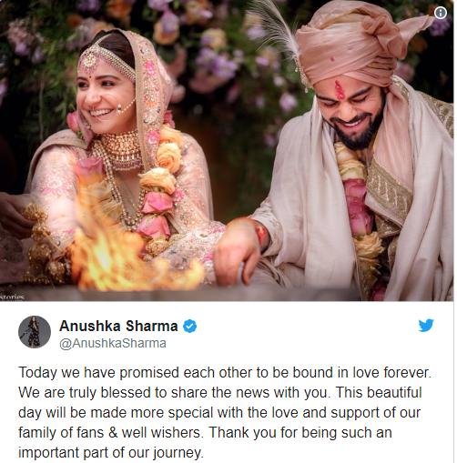 Tweet from Ansshka Sharma