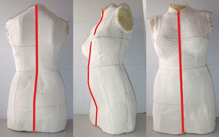 dress form with marked mold separator placement
