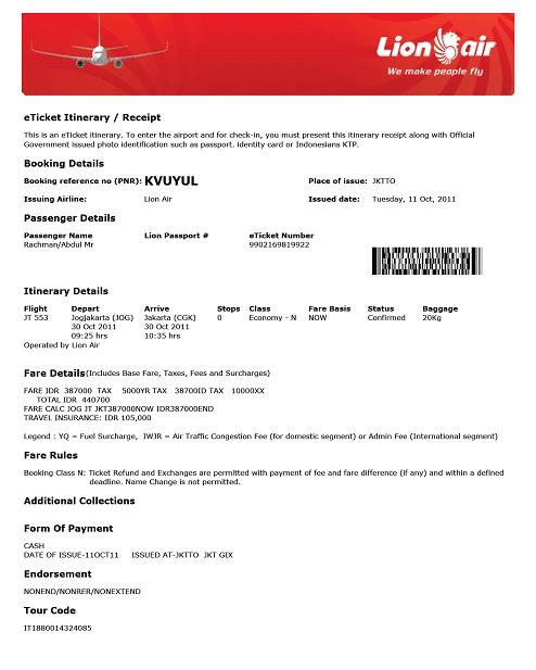 Abu Unaisah Travel E Ticket