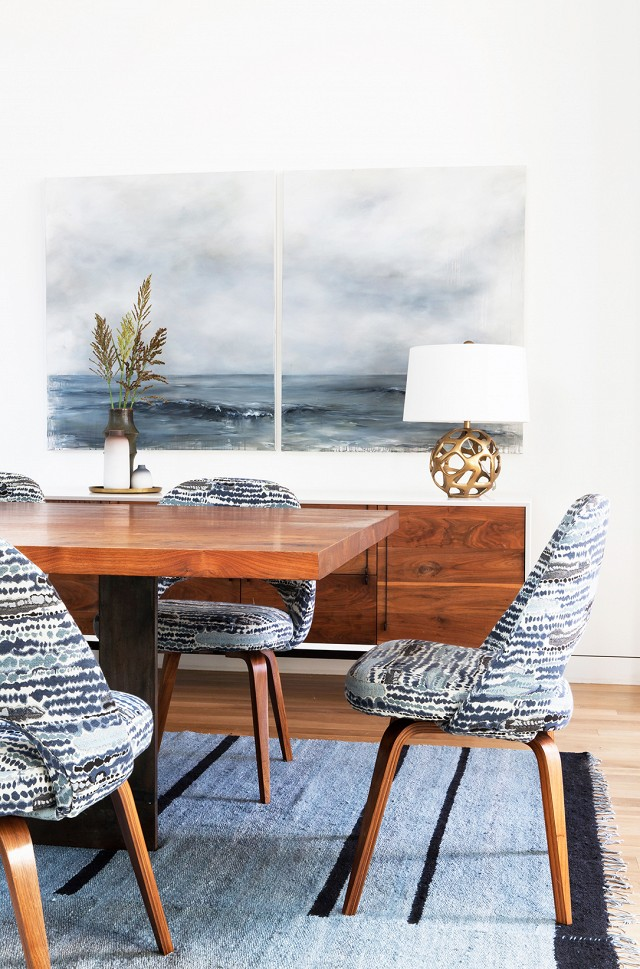 Grey blue and teak dining room decor