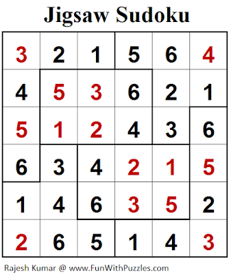 Jigsaw Sudoku (Mini Sudoku Series #102) Puzzle Solution