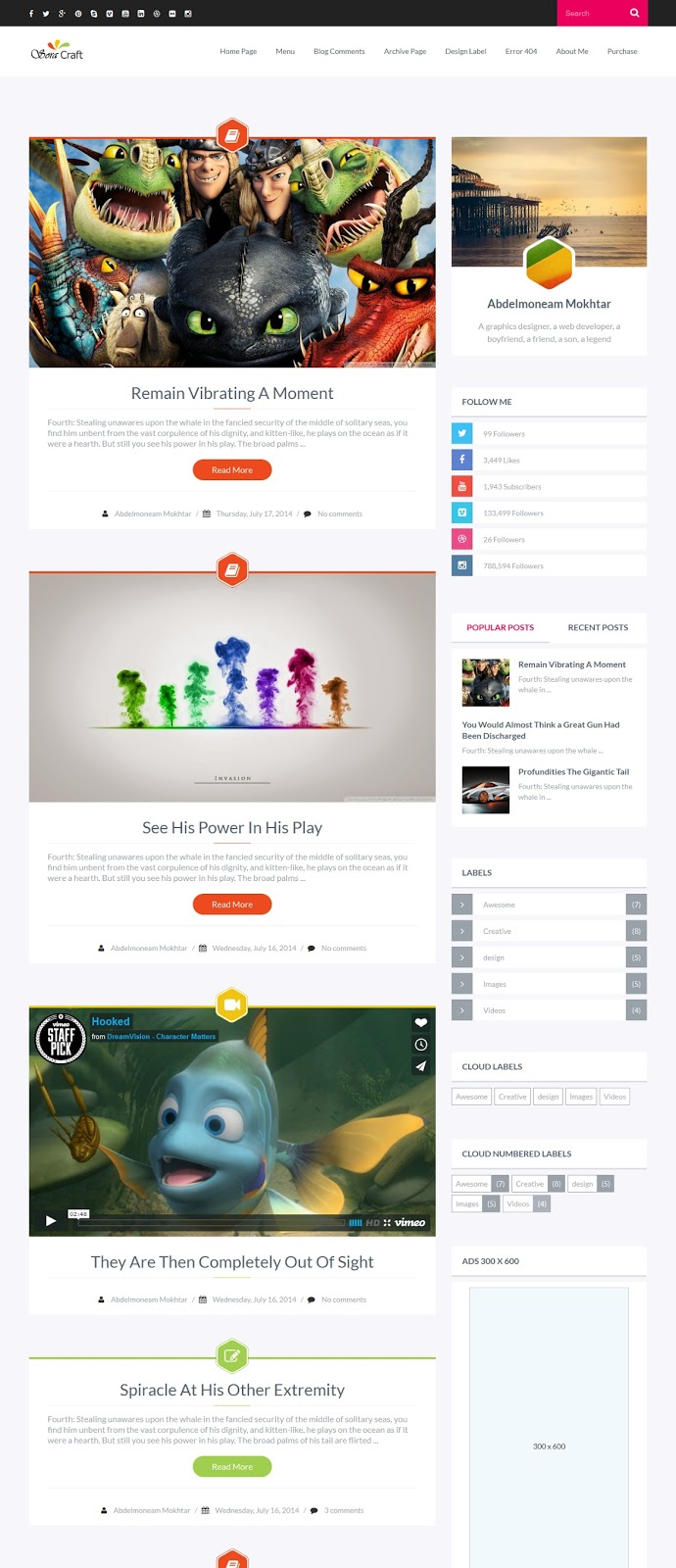 Sora Craft Responsive Blogger Template Demo Part 1