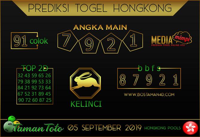 Prediksi Togel HONGKONG TAMAN TOTO 05 SEPTEMBER 2019