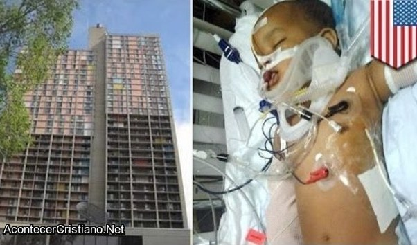 Bebé sobrevive a caída de edificio