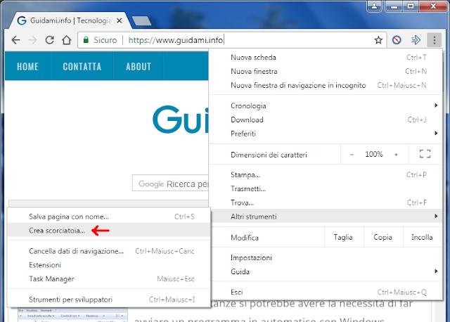 Chrome Menu opzione Crea scorciatoia sul Desktop a sito o pagina web