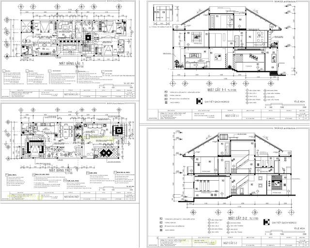 Bản vẽ autocad thiết kế mẫu nhà cấp 4 với mặt bằng và mặt cắt ngang ngôi nhà