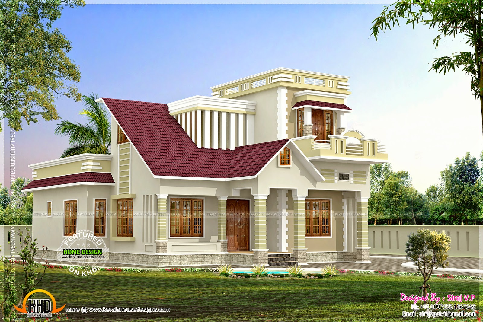 July 2014 kerala home design and floor plans for Low budget modern 3 bedroom house design