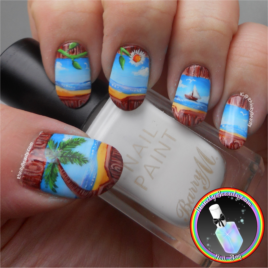 The other side of the fence freehand beach nail art the products i used for this manicure was mezmris nail lacquer base coat armor up barry ms white and mezmris nail lacquers top coat armor prinsesfo Image collections