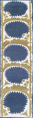 taupe and blue rug runner white rug runner madeline weinrib