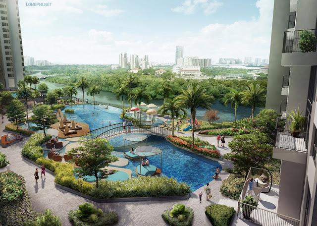 Góc nhìn uyệt đẹp từ ban công tháp T8 (tháp 8) trực diện khu hồ bơi, tiện ích và Phú Mỹ Hưng - Nam Sài Gòn.