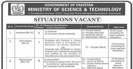 Ministry of Science & Technology Jobs 2020 Apply Now