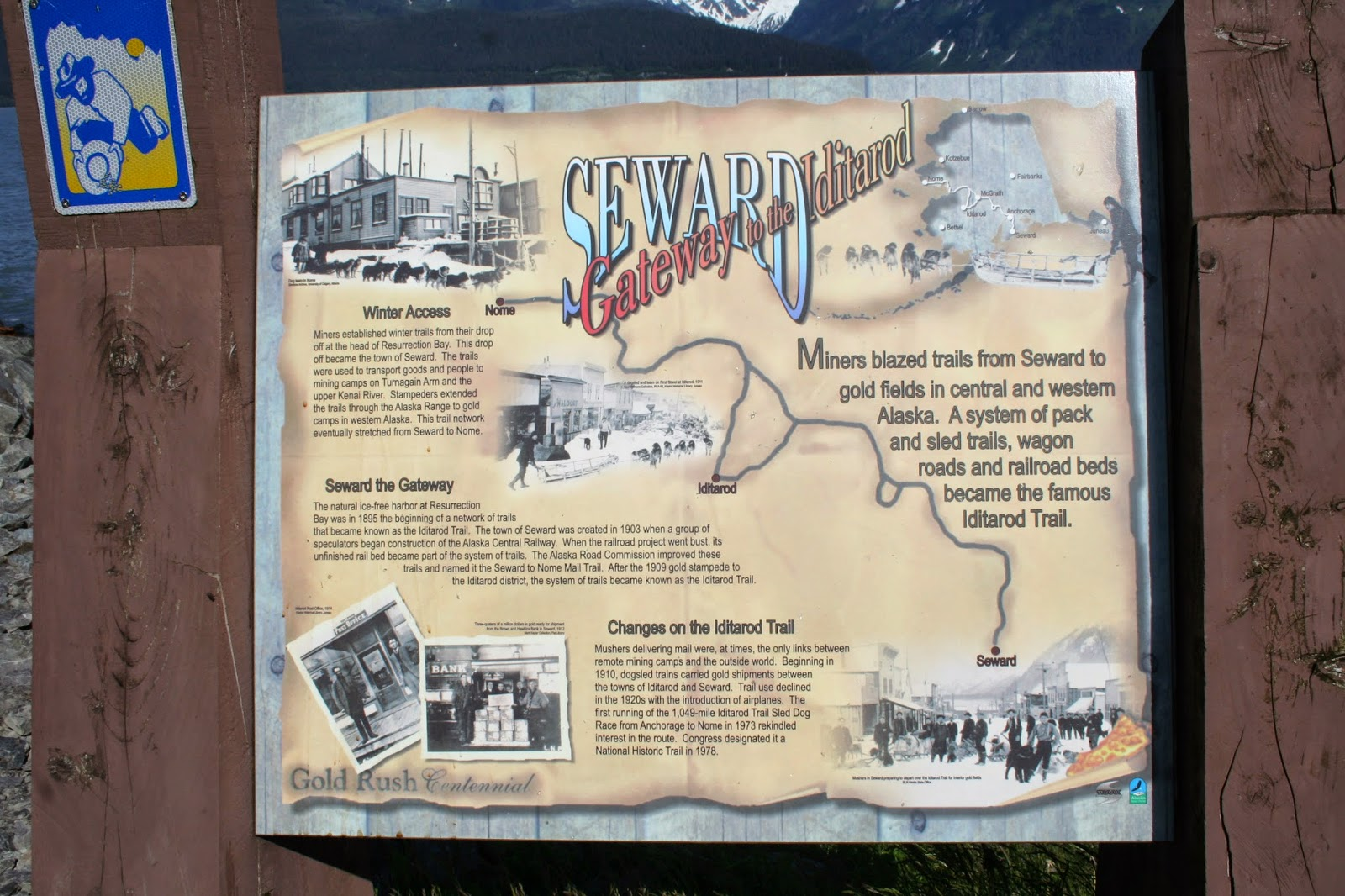 Plaque describing the Iditarod Trail and Seward Alaska's importance.