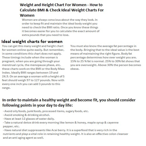 weight and height chart for women how to calculate bmi check