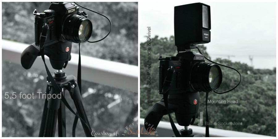 Image of a pivot, ball joint Tripod and a Digital camera mounted