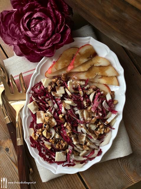 insalata di radicchio con pere noci parmigiano e aceto balsamico tradizionale