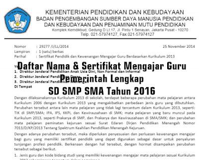 Daftar Nama & Sertifikat Mengajar Guru Pemerintah Lengkap SD SMP SMA Tahun 2016