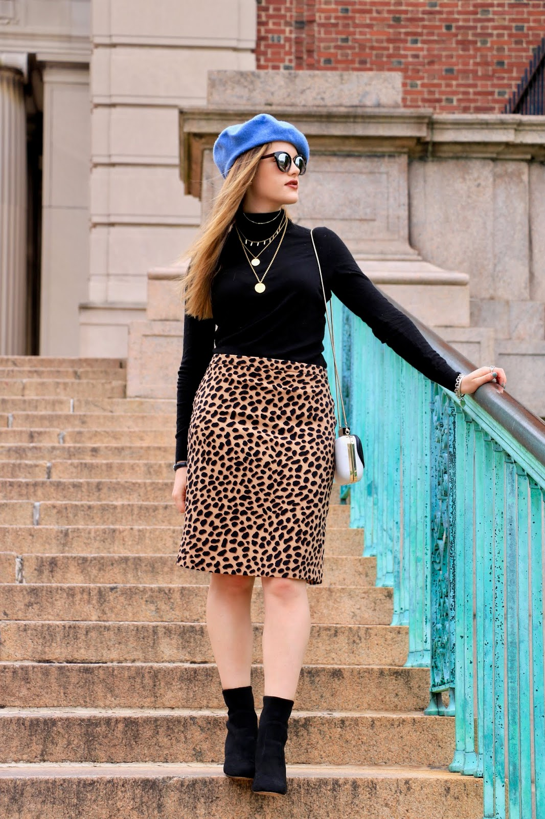 Nyc fashion blogger Kathleen Harper's leopard skirt outfit ideas