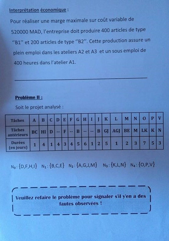 Recherche Operationnelle Exercices Corriges Examen Corrige Recherche Operationnelle 1cours Cours En Ligne