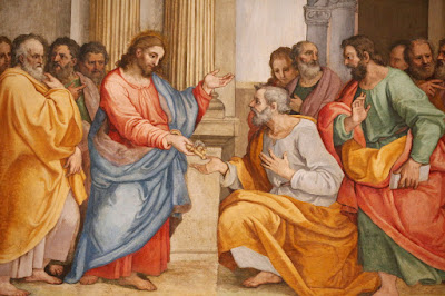 Jesus giving the keys to the kingdom to Peter.