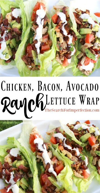Chicken, Bacon, Avocado Ranch Lettuce Wraps