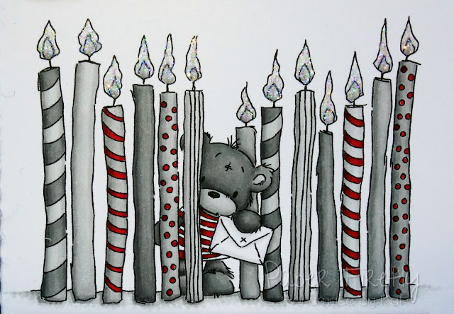 Stylish birthday card with many candles and cute bear (image from Lili of the Valley)