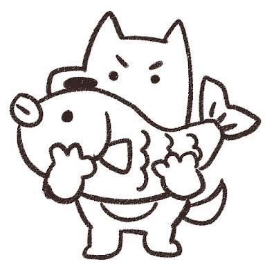 鯛を持ち上げる犬のイラスト(戌年)白黒線画