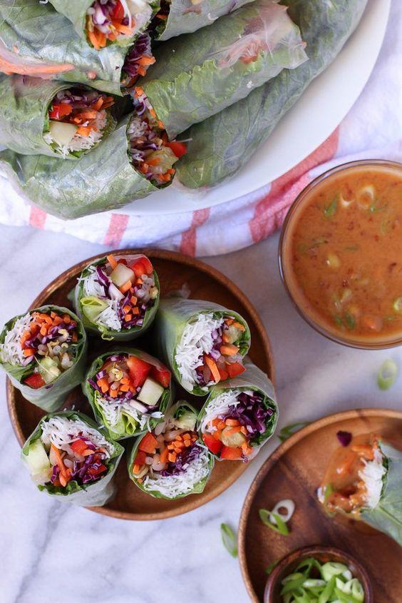 Veggie Spring Rolls with Spicy Peanut Dipping Sauce