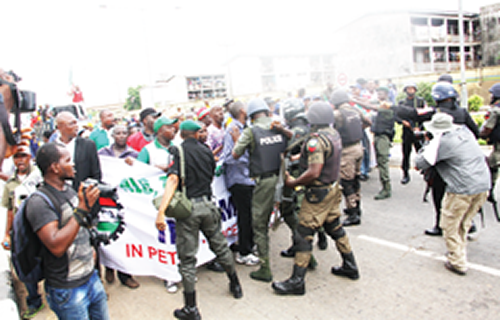 area boys beat nlc protesters lagos