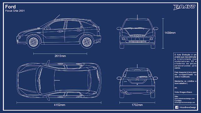 Imagem mostrando o desenho do blueprint Ford Focus Ghia (Hatch) 2001