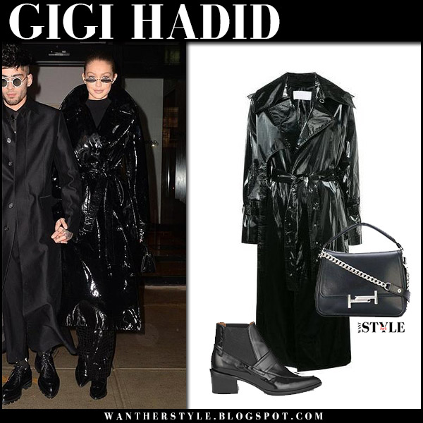 Gigi Hadid in black patent trench coat tamuna ingorokva model street style january 12
