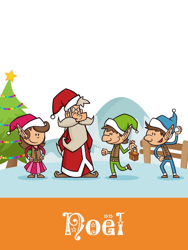Création illustration jeunesse père noël et elfes