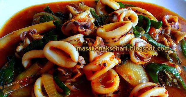 Resep Cumi  Saus Padang Spesial Extra Pedas