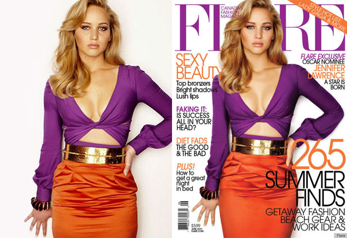 20 Before & After Images Of Celebs Reveal Society's Unrealistic Standards Of Beauty - Jennifer Lawrence