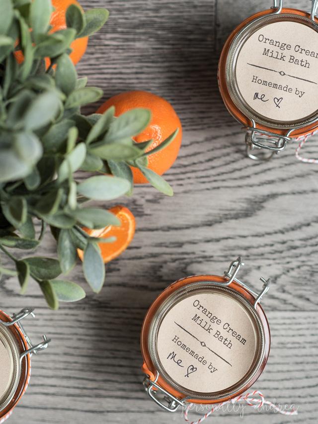 Homemade Orange Cream Milk Bath   Homemade orange cream milk bath with pantry ingredients plus orange essential oil.  Makes a pretty gift when packaged in a labeled jar   #spa #giftidea