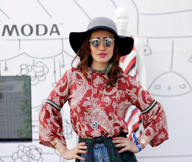 Vero Moda Sula Fest'16, Vero Moda Paisley Bell-sleeve top, floppy hat, mirrored sunglasses, plaid shirt, boho-chic, 70's fashion,music festival look