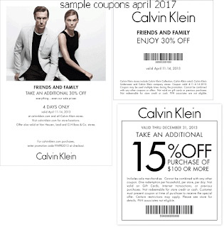 free Calvin Klein coupons april 2017