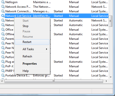 Restarting Network List Services