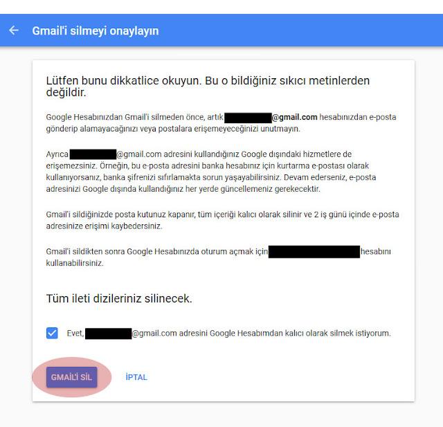 gmail'i sil